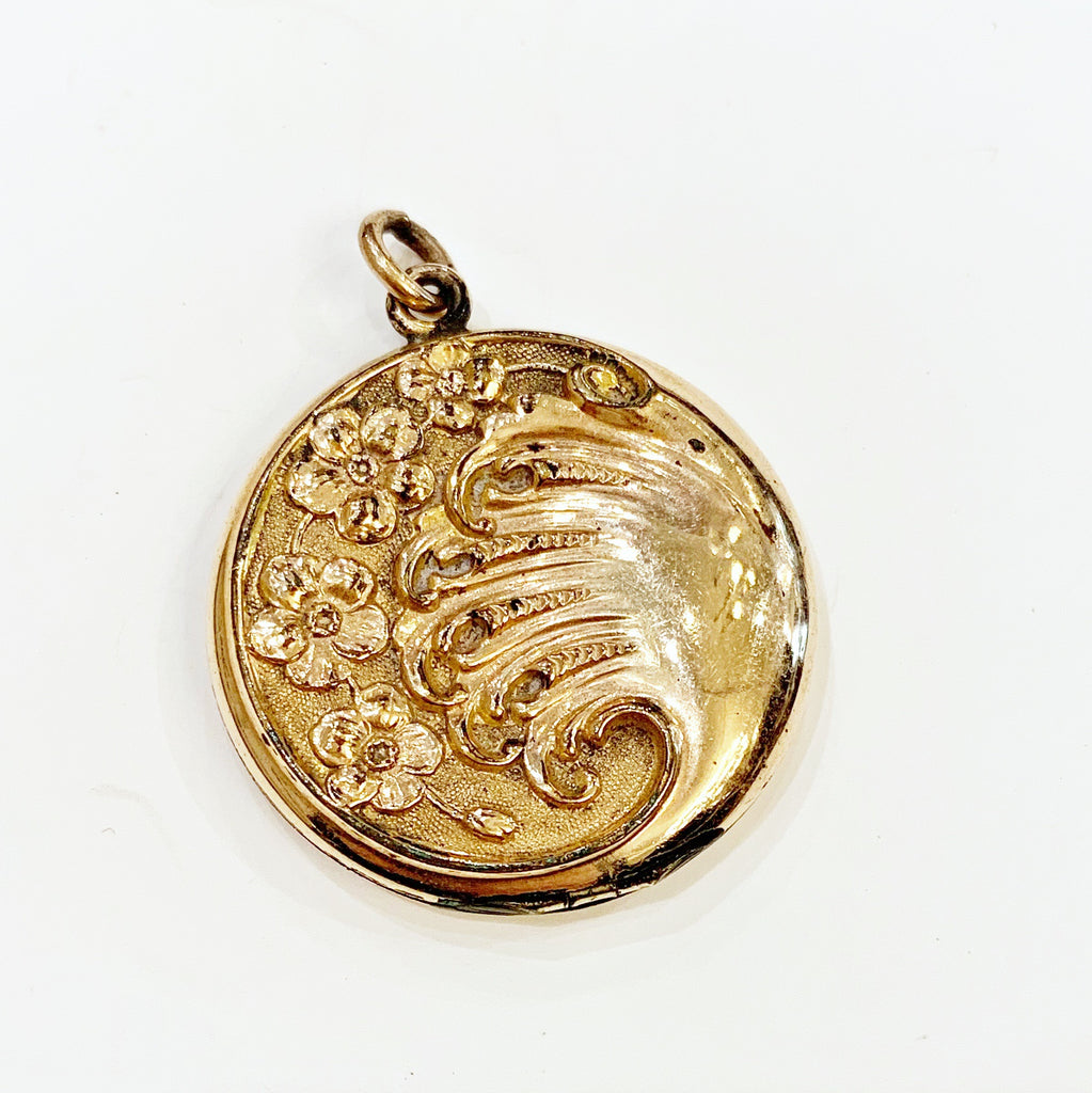 Estate Collection Locket - Gold w/Wave Floral Pattern