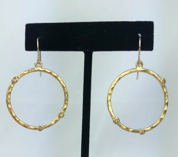 Hammered Circle Earrings w/Tiny CZ's on Ear Wire