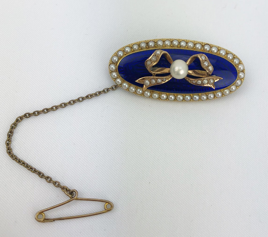 Estate Collection Georgian Gold & Enamel Pearl Brooch