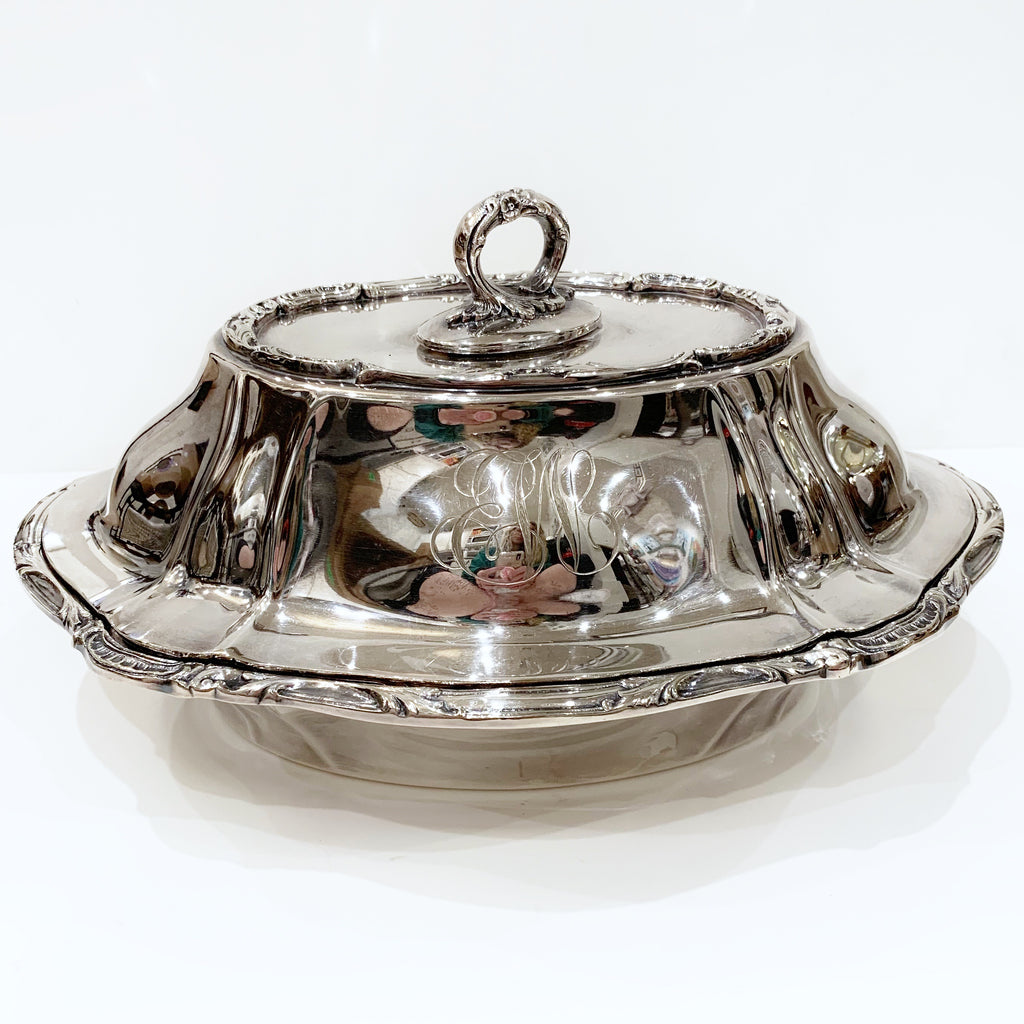 Estate Collection Silver Plate - Covered Vegetable Bowl w/Monogram