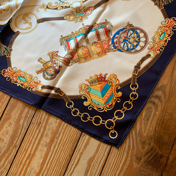 "Silk Scarf 35"" Square - Carriage, Belt & Chain Navy Trim"