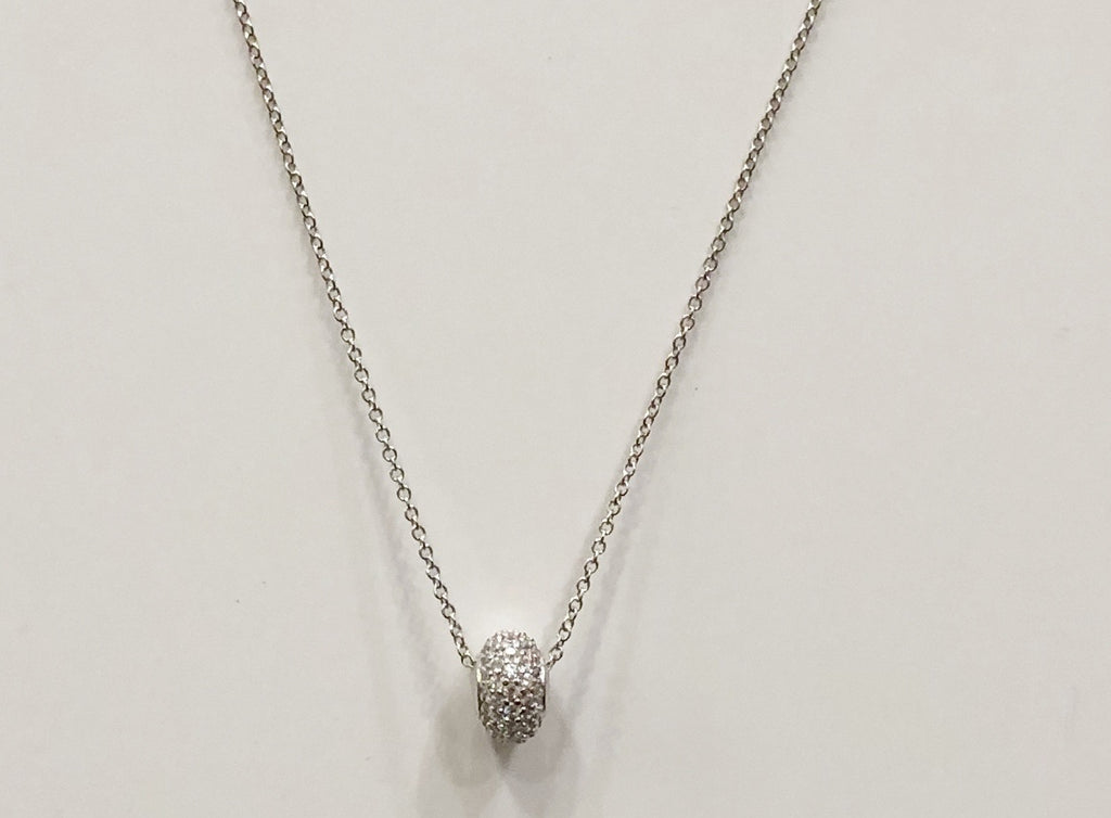 Silver Micro Pave Barrel Necklace