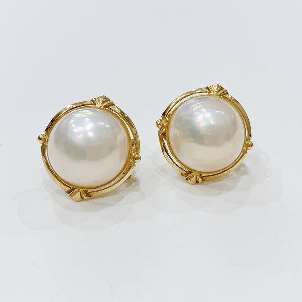 Estate Collection Earrings - 14K Gold Mabe Pearl