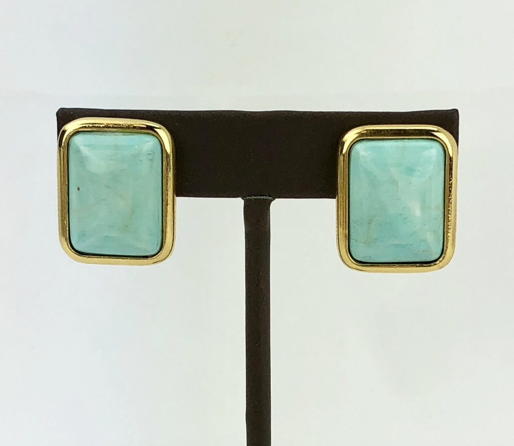 Rectangle Reconstructed Turquoise Clip on Earrings