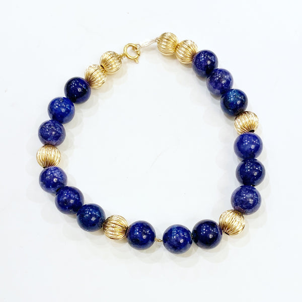 Estate Collection Bracelet - Lapis Lazuli with Fluted Gold Beads
