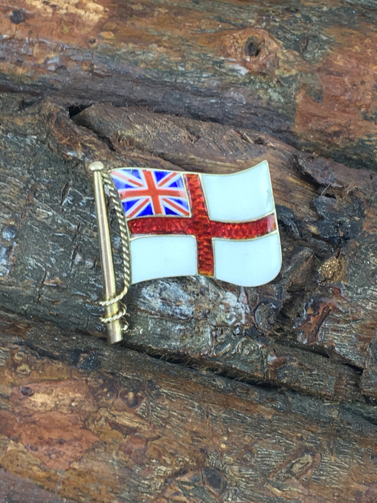 Estate Collection Early 19th Century 9ct. Gold White Ensign Flag Brooch