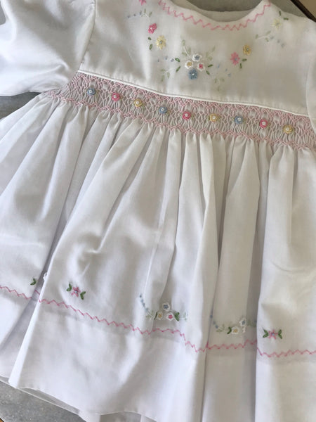 Smocked White Dress with Embroidered Flowers