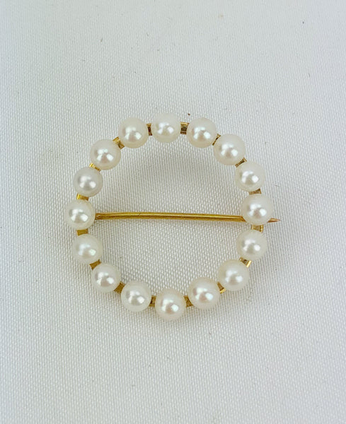 Estate Collection Brooch -  Pearl & Gold Circular
