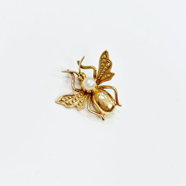 Estate Collection Brooch - Gold Fly W/Pearls