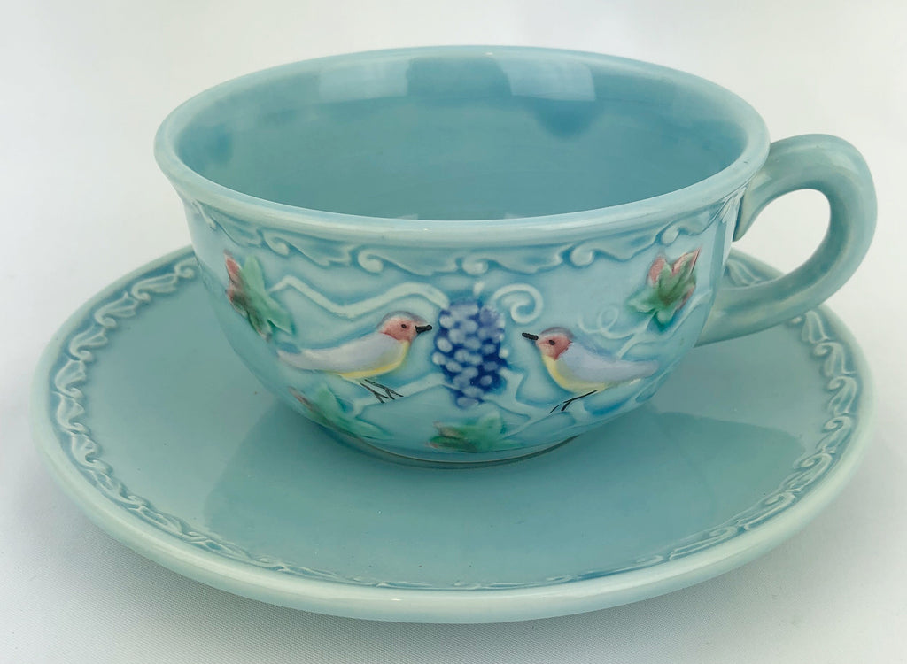 Estate Collection Majolica - Cup & Saucer Birds & Grapes