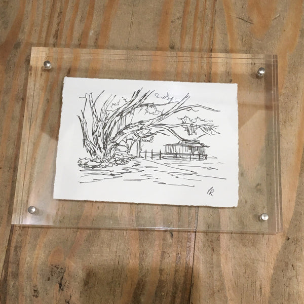 Porter Rivers Art - Along the Mobile Bay Pen & Ink in Acrylic Frame