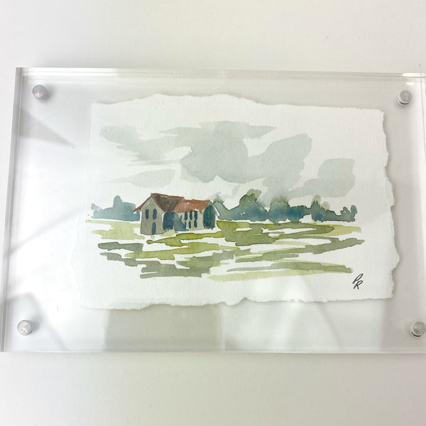 Porter Rivers Art - Abstract Farm House in Acrylic Frame