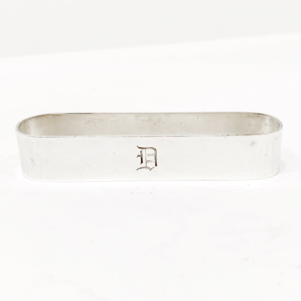 "Estate Collection Sterling - Napkin Rings Elongated w/Monogram ""D"""