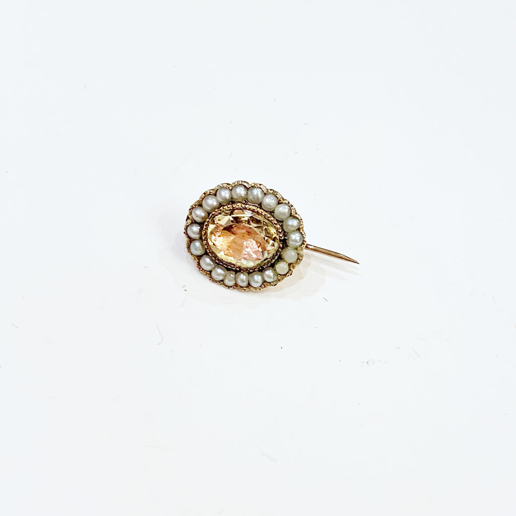 Estate Collection Brooch - Rose Topaz & Seed Pearl