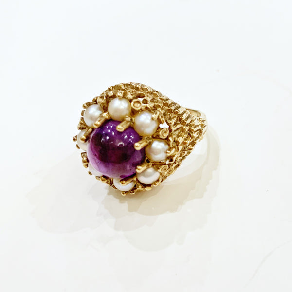 Estate Collection Ring - Amethyst & Split Pearl Cluster