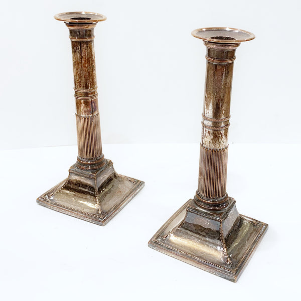 Estate Collection Pair of 19th Century Sheffield Plate Candlesticks 9""