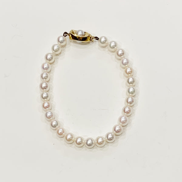 Estate Collection Bracelet - Vintage Cultured Pearl Single Strand w/9K Gold Clasp