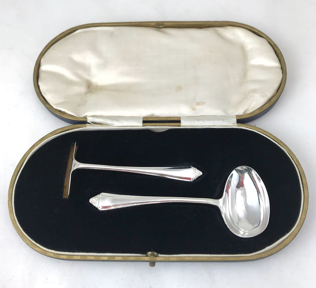 Estate Collection Baby Silver Plate - Boxed Spoon & Pusher Set Sheffield