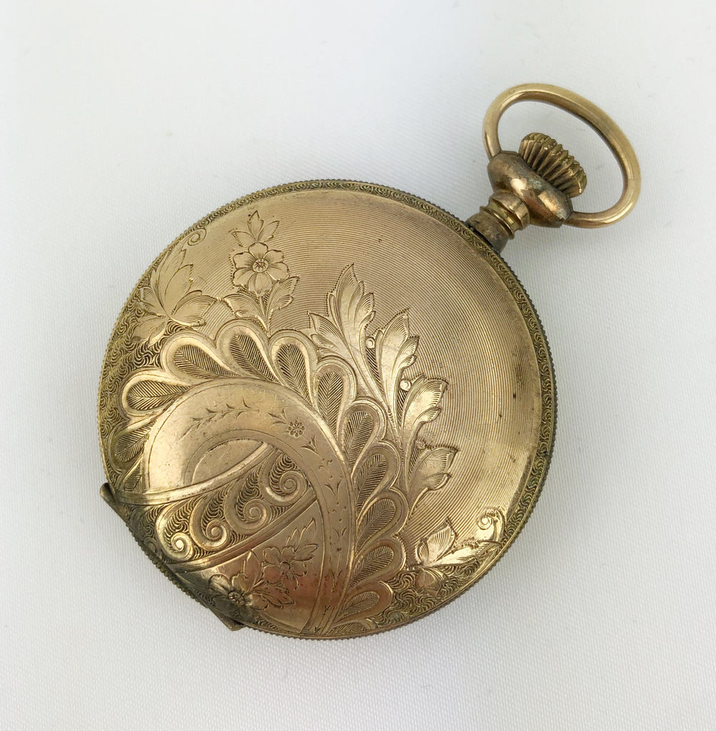 Estate Collection Gold Locket w/Wave Floral Pattern