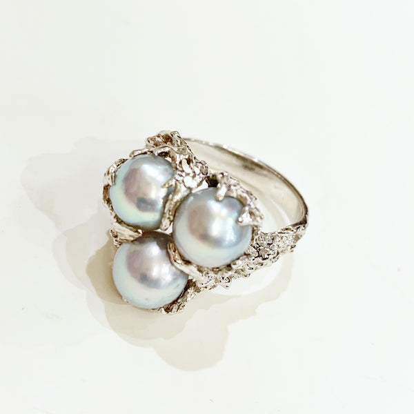 Estate Collection Ring - 14K White Gold Custom Made Pearl