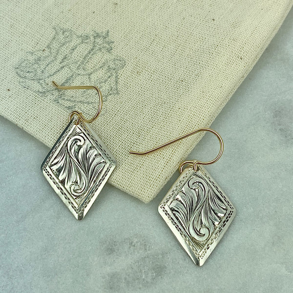Antique Sterling Cufflink Earrings
