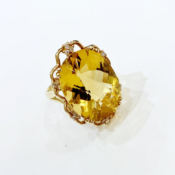 Estate Collection Ring - 14K Yellow Gold Citrine and Diamond