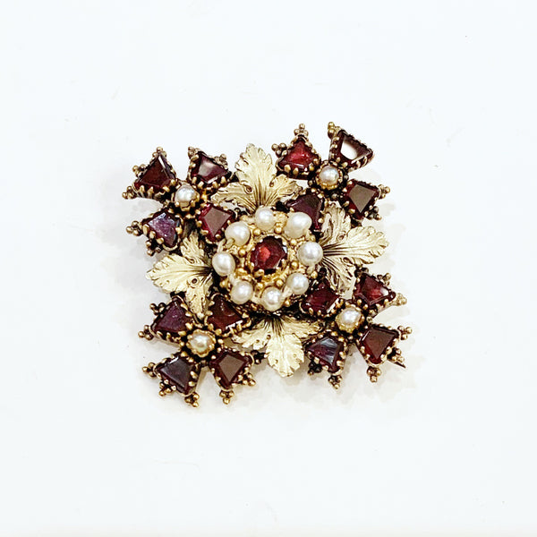 Estate Collection Brooch - Georgian 15K Gold, Pearl & Garnet