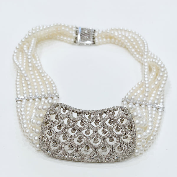 Estate Collection Necklace - Exquisite Diamond and Cultured Pearl Collar