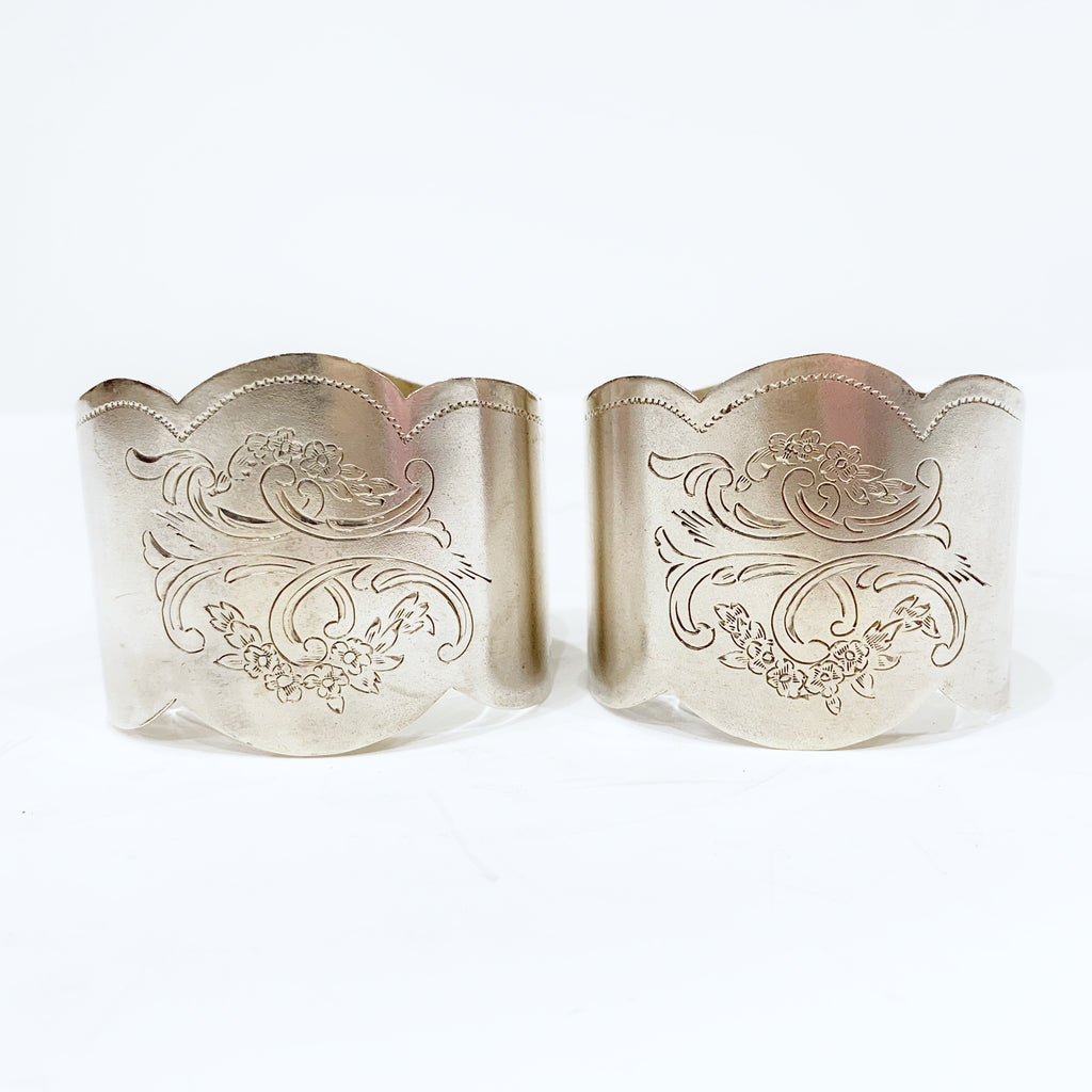 Estate Collection Silver -Napkin Rings Pair of Coin Silver, Floral acanthus 1860