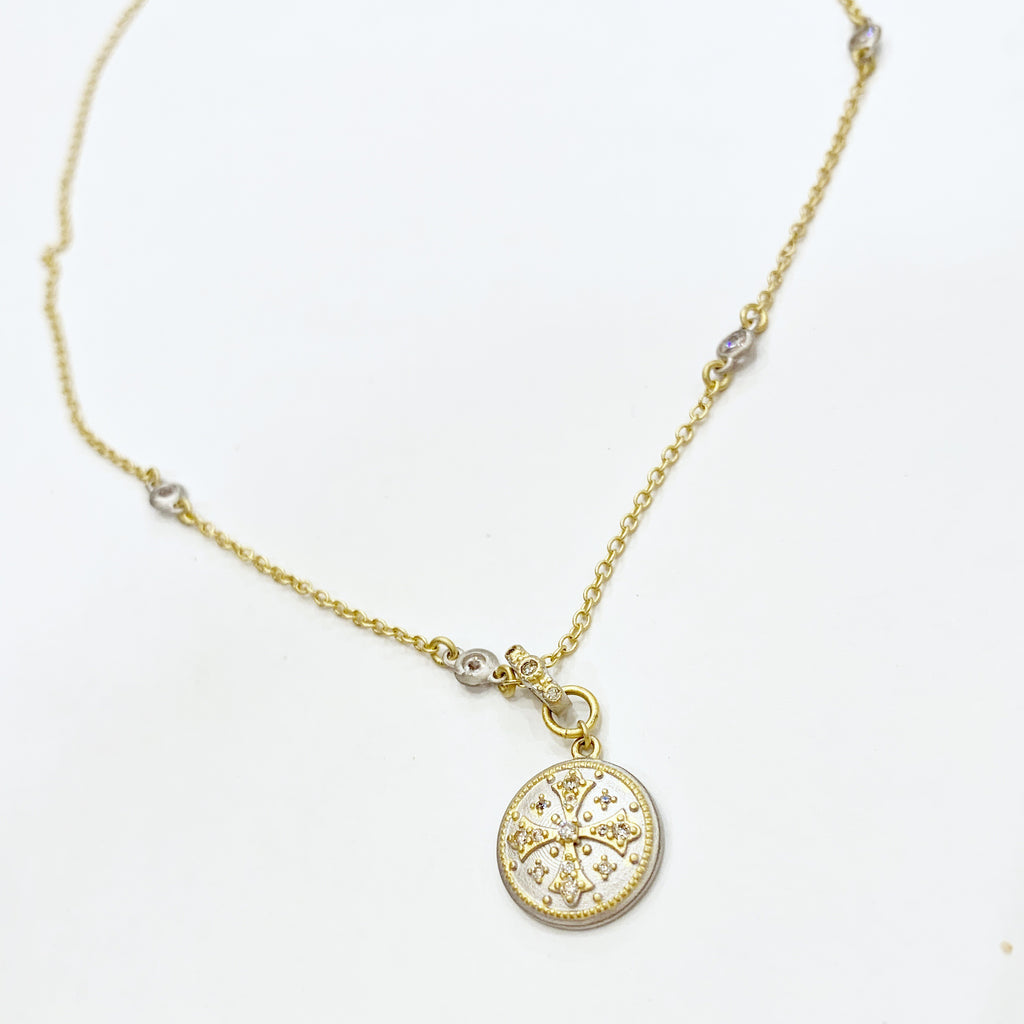 Gold Necklace w/Silver Disc w/CZ Cross in Center