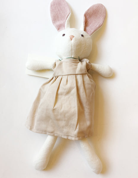 Animal - Emma Rabbit in Peach Linen Dress