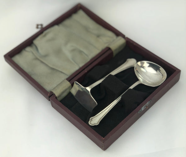 Estate Collection Baby Silver - Boxed Spoon & Food Pusher Set Hampton Utilities