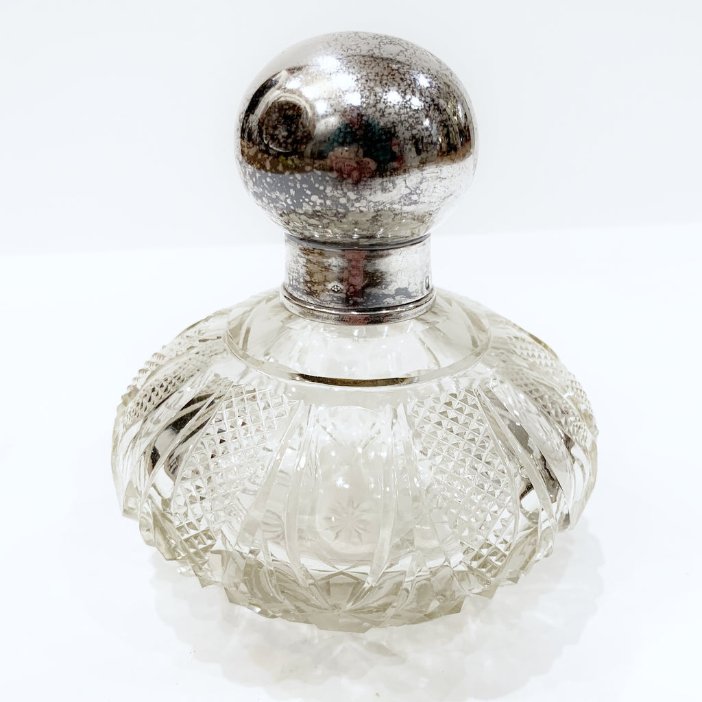 Estate Collection Silver Plate - Scent Bottle Antique Crystal