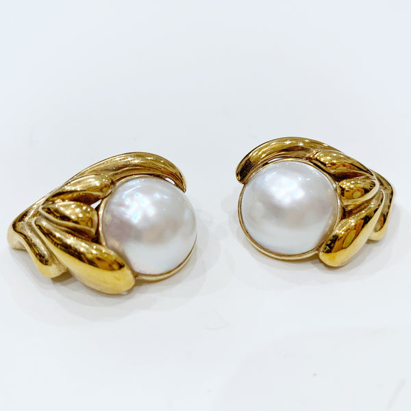 Estate Collection Earrings - Mabe Pearl 13MM