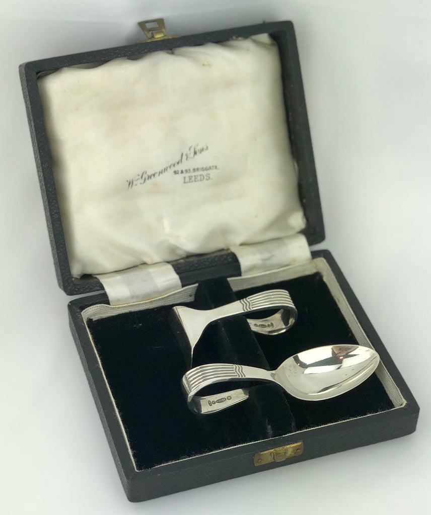 Estate Collection Silver Plate Baby Spoon & Pusher