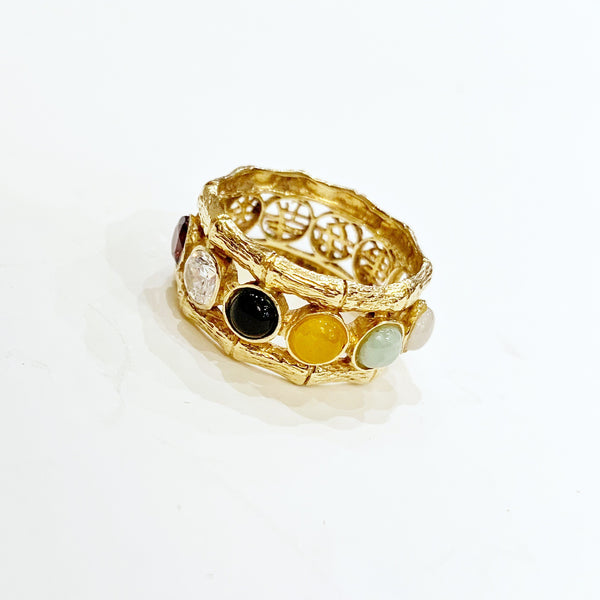 Estate Collection Ring - Jade and Multi Gem