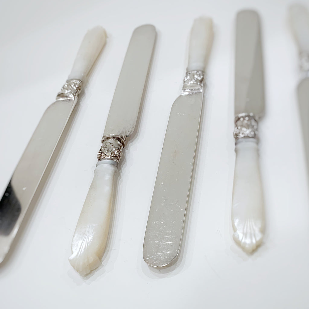 Estate Collection Silver Plate - Knives Antique Mother of Pearl