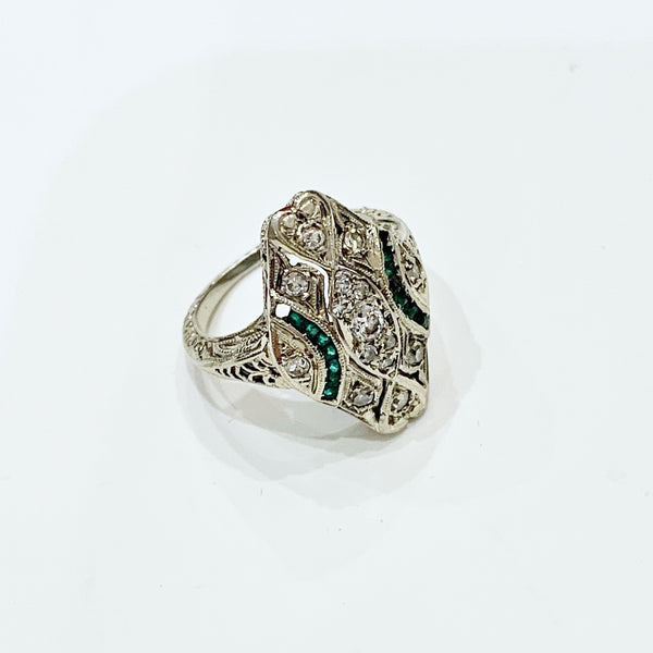 Estate Collection Ring - Art Deco 14K White Gold, Diamond & Emerald