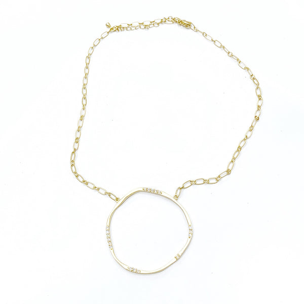 Gold Chain Link Necklace w/Large Hammered Open Circle w/CZ's