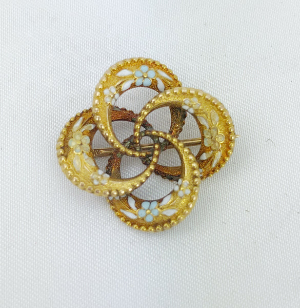 Estate Collection Brooch - Gold w/Enamel Flowers