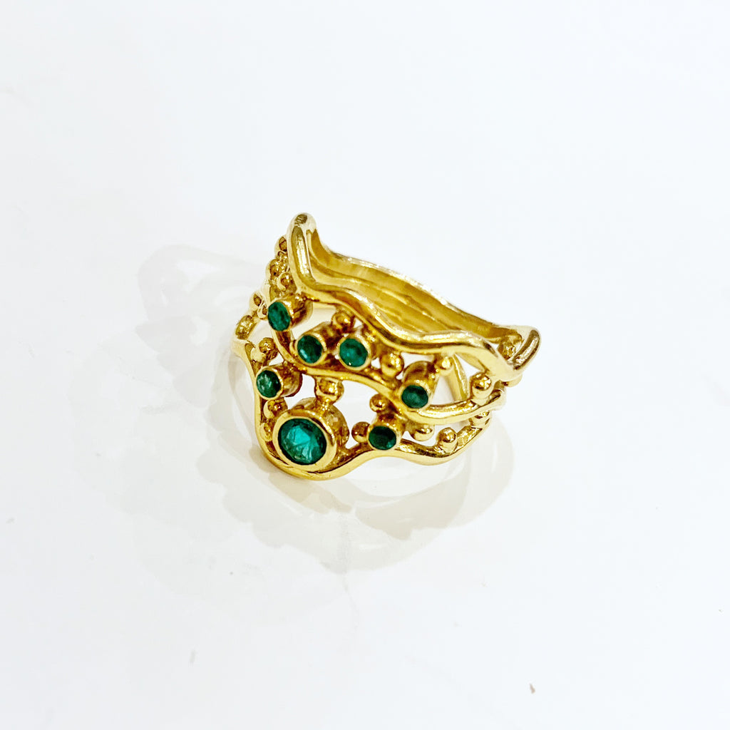 Estate Collection Ring - 18K Gold & Emerald