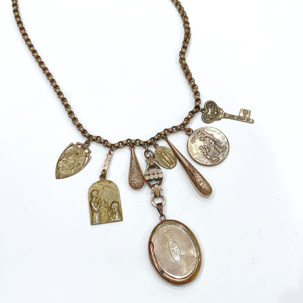 "Estate Collection Necklace - ""One of a kind"" Vintage/ Religious medals"