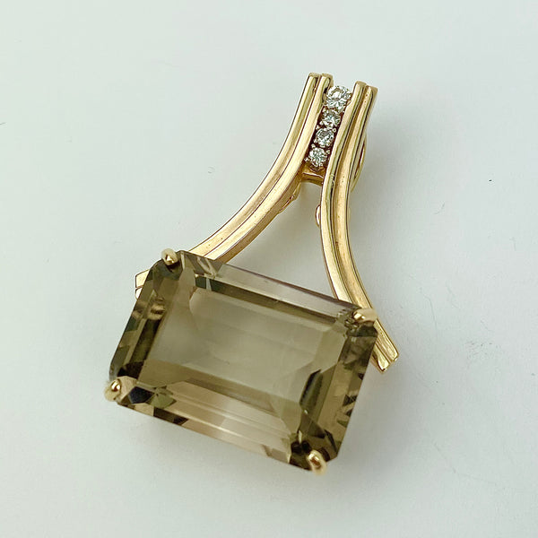 Estate Collection Pendant Enhancer- Diamond & Smoky Quartz