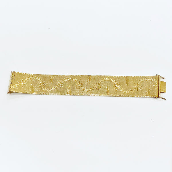 Estate Collection Bracelet - 18K Gold Floral Engraved
