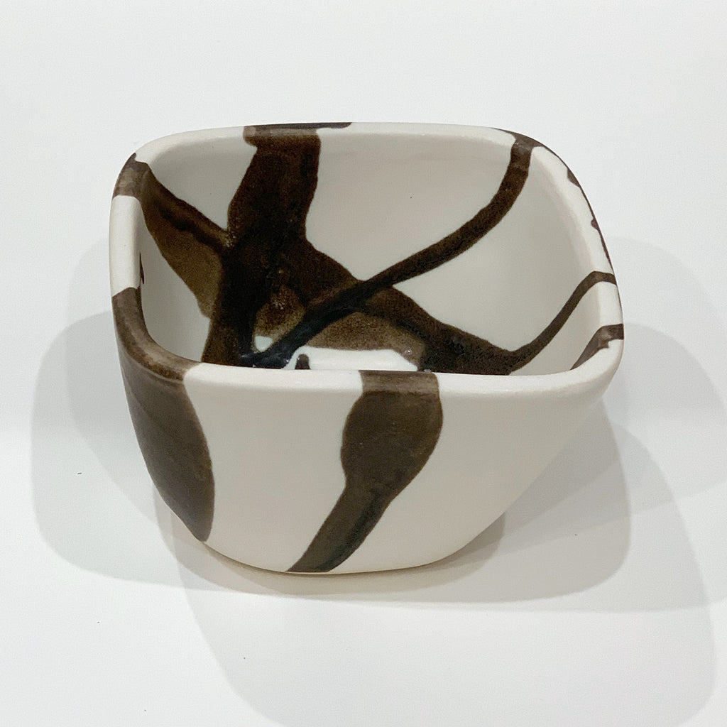 Bowl Square Hand Crafted in Charcoal Abstract Stripe