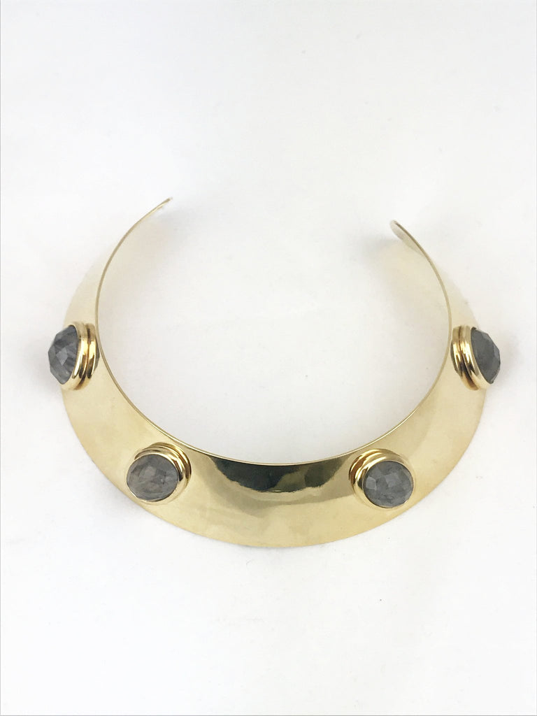 Statement Collar w/Facetted Semi Precious Stones