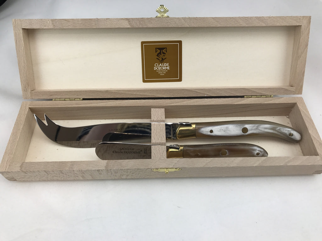 Box of Laguiole Cheese & Butter Knives - Bee Hell Horn Handle