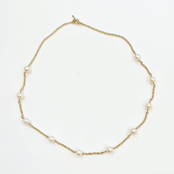 Estate Collection Necklace - Freshwater Pearl & 14K Yellow Gold