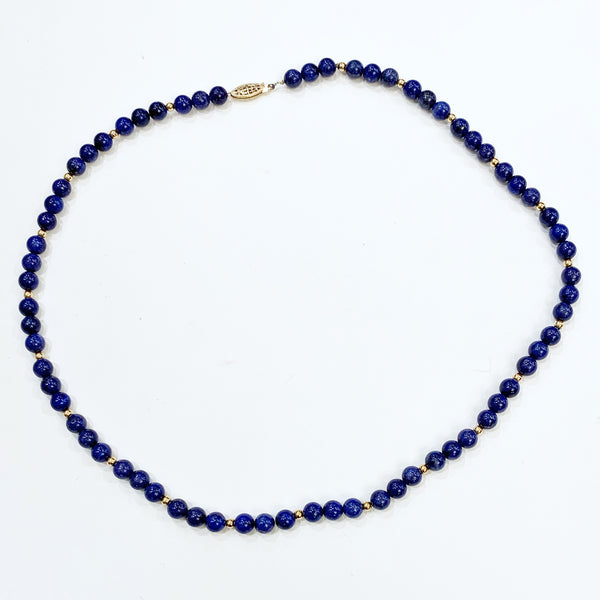 Estate Collection Necklace - Long Lapis Lazuli Bead Necklace