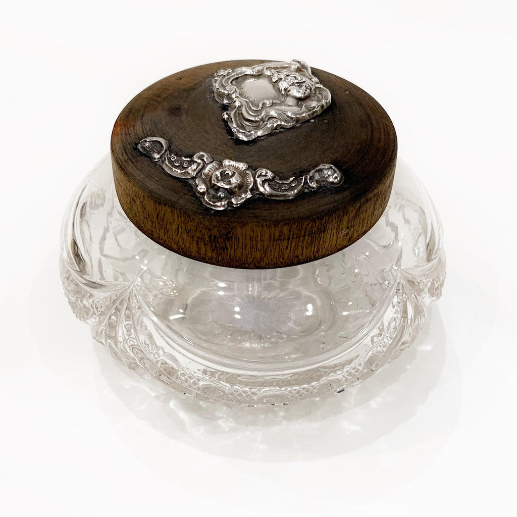 Estate Collection Sterling - Dresser Jar Cut Crystal and Sterling